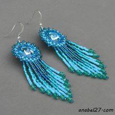 Бирюзово-голубые серьги с кристаллами Swarovski - 157 / 365