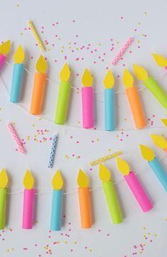 DIY birthday candle garland   Una guirnalda de velas de pastel de papel                                                                                                                                                                                 More