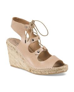 Made In Spain Leather Espadrille Wedge