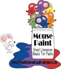{free} Mouse Paint Literature Pack! Teach colors, color mixing, shapes/sizes, fine motor skills, counting & more! This pack is for 2-5 year olds.