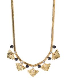 $26.99 Loving this Czech Crystal & Gold Ginko Necklace on #zulily! #zulilyfinds
