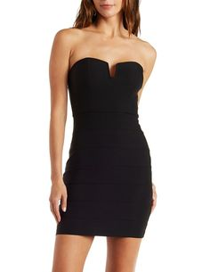 Seamed Strapless Tube Dress with Notched Bust - Black