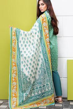 Khaadi 3 Piece Stitched Printed Lawn Suit -A17214-A - GREEN - libasco.com    #khaadi #khaadionline #khadiclothes #khaadi2017 #kaadisummer
