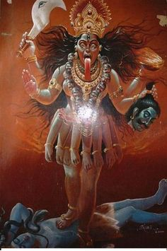 A poster of the goddess Kali standing over Lord Shiva I mean for you to scratch your head with that headline. Kali is a p. Durga Goddess, Kali Goddess, Mother Goddess, Goddess, Indian Art, Lord Ganesha Paintings, Kali Hindu, Mythology, Shakti