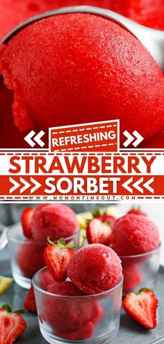 This easy Strawberry Sorbet recipe is light and refreshing! You only need four ingredients to make this best spring treat! It can be served as a simple homemade dessert or a refreshing treat any time of the day. Pin this easy Easter dessert!