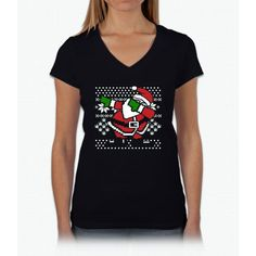 DABBING SANTA Ugly Christmas Sweater T-Shirt Womens V-Neck T-Shirt