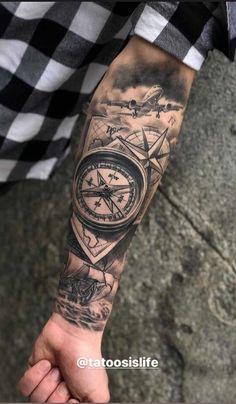 Desenhos para tattoo e tatuagem mais top do mundo ,: beautiful tattoo designs Compass Tattoos Arm, Tribal Arm Tattoos, Forarm Tattoos, Cool Forearm Tattoos, Leg Tattoos, Body Art Tattoos, Half Sleeve Tattoos For Guys, Half Sleeve Tattoos Designs, Arm Sleeve Tattoos