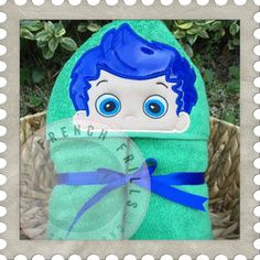 Blue Fish Boy hooded towel design. #Embroidery #Applique