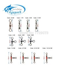 200PCS Fishing Barrel Bearing Rolling Swivel Solid Ring LB Lures Connector LY
