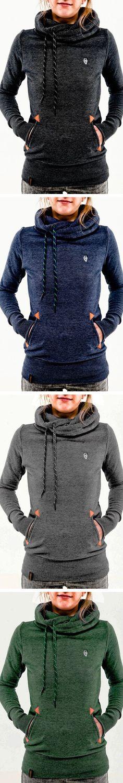 Long Sleeve Pocket Design Embroidered Hoodie