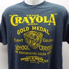 CRAYOLA T-Shirt- Original Vintage Logo Great look light weight soft Heather fabric will look great over time Classic Original Vintage Logo look with a modern take Distressed print Crayon Ideas, Latest Tops, Mint, Hollywood, Logo, The Originals, T Shirt, Clothes, Logos