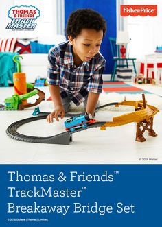 Ride the rails with the No. 1 blue engine, Thomas, and the Thomas & Friends™ TrackMaster™ Breakaway Bridge Set. Thomas must balance on a single rail of train track across the crumbling bridge. Get ready for some exciting, gravity-defying thrills! From Fisher-Price®, for ages 3+ years.