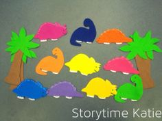 Flannel Friday: Ten Little Dinosaurs | storytime katie books and activities