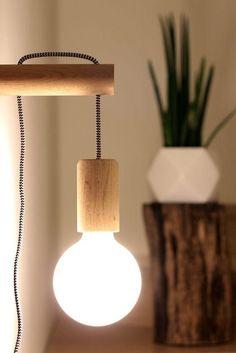 lampara de pared madera - Búsqueda de Google Diy Home Crafts, Diy Home Decor, Bedroom Lighting, Bedroom Decor, Bedroom Ideas, Wooden Hinges, Deco Luminaire, Tent Decorations, Bed Lights