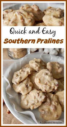 Quick and Easy Southern Pralines- Easy Candy Recipe! Homemade pralines are a delicious dessert that can be easily made without a candy thermometer! Check out this quick and easy Southern pralines recipe! These would make a great gift! Mini Desserts, Easy Desserts, Dessert Recipes, Cajun Desserts, Pecan Desserts, Awesome Desserts, Trifle Desserts, Strawberry Desserts, Sweet Desserts