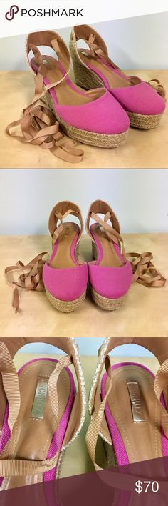 """Schutz Espadrille Wedge Sandal Schutz Caysey Jute/Canvas Espadrille Wedge in Fuchsia Rose. Sold out everywhere/no longer available. Only worn once. Schutz Caysey wedge sandal: • Canvas upper. • Espadrille 3"""" wedge heel; 1"""" platform. • Round toe. • Jute ankle strap with grosgrain lace-up. • Padded insole. • Rubber outsole. • """"Caysey"""" is made in Brazil. SCHUTZ Shoes Wedges"""