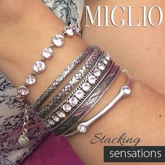 I love stacking my Miglio bracelets to create my own unique look. Jewelry Design, Designer Jewellery, Bangles, Bracelets, Jewels, Diamond, Silver, Candy, Facebook