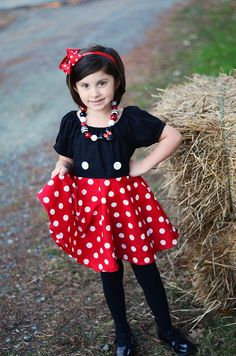 Minnie Mickey Mouse Inspired Dress, Minnie Costume, Miss Mouse Dress, Twirly Dress, Infant Toddler Dress by APoshPumpkin on Etsy https://www.etsy.com/listing/169783789/minnie-mickey-mouse-inspired-dress