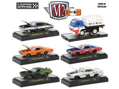 """Detroit Muscle 6 Cars Set Release 36 """"Mopar Garage"""" Collection IN DISPLAY CASES 1/64 Diecast Model Cars by M2 Machines - Brand new 1:64 scale diecast models of Detroit Muscle 6 Cars Set Release 36 """"Mopar Garage"""" IN DISPLAY CASES by M2 Machines. Limited Edition. Brand New Box. Has Rubber Tires. Metal Body and Chassis. Detailed Interior, Exterior. Officially Licensed Product. Packed in a DISPLAY CASES. Might come with a possible chase car oe super chase instead of one of the cars in a set, but…"""