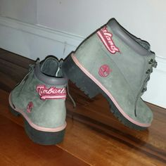 Grey with pink accent Timberland boots womens Grey with pink accent Timberland boots. Womens size 8.5. Looking online they are Nellie Chukka style but I can't seem to find these specific boots. That's why I turn to my fellow Poshers!! Anyone else have any idea about these? I've had them for a while and I started looking online to see how much they could be. I can't find any that look just like these (or similar design with different color pattern). That made me think twice about trying to…