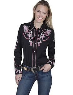 Scully Western Shirt Womens L/S Snap Embroidery Floral Pearl PL-844