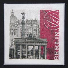 Berlin Canvas. Serviette decoupage on canvas. Set of 4 by Tripvis, $15.00