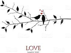 Vektor Vögel auf Ast – Liebe und Romantik-Konzept Lizenzfreies vektor illustration