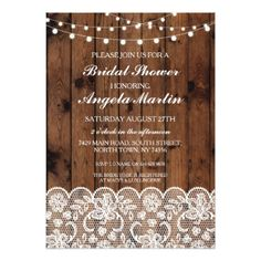#Bridal Shower Bachelorette Party Wood Lace Invite - #saturday #saturdays