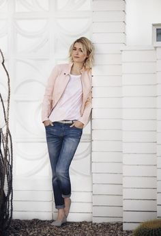 Our skinny jeans' current crush: the moto jacket in the sweetest shade of the season.