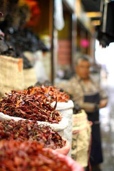 Peppers in Oaxacan market