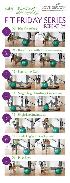Exercise balls are one of my favorite pieces of gym equipment! There are endless exercises that you can do! These are seven of my favorite moves. Repeat twice (or three times if you are up for the challenge!)! Happy Fit Friday! #LoveGrownFoods #FitFriday