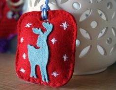 Starry Deer - Christmas felt ornament