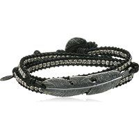 M.Cohen Genuine Black Deer Skin Leather Beaded Wrap Charm Bracelet$365More details