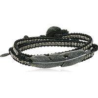 M.Cohen Genuine Black Deer Skin Leather Beaded Wrap Charm Bracelet$365More details