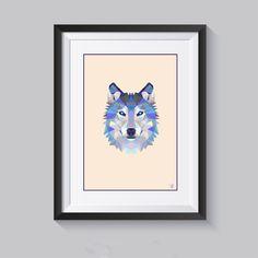 Arte digitale, lupo, arredamento casa, poster, download instantaneo, quadro, camera bimbo, decorazione parete, scandinavian, wolf art, wolf di PrintWithLove11 su Etsy