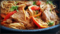 Spicy Peanut Soba Noodles with Pork
