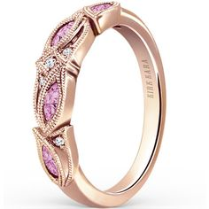 """Kirk Kara 18K Rose Gold """"Dahlia"""" Marquise Shaped Pink Sapphire Diamond... ($1,960) ❤ liked on Polyvore featuring jewelry, rings, wedding band rings, pink gold ring, 18k diamond ring, pink gold wedding rings and pink sapphire ring"""