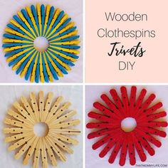 When looking for a kitchen DIY, making these colorful trivets have never been so easy. Learn how to make these beautiful and easy trivets today! Wooden Clothespin Crafts, Wooden Clothespins, Wooden Diy, Wood Crafts, Popsicle Stick Crafts, Craft Stick Crafts, Crafts To Sell, Easy Crafts, Homemade Fabric Softener