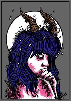 Horned girl Art Print by Paulo Martins - X-Small Behance, Dark Art, Art Girl, Art Prints, Creative, Illustration, Artist, Artwork, Anime