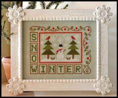 Winter Snow. Gráfico de country cottage needleworks en www.lacasinaroja.com