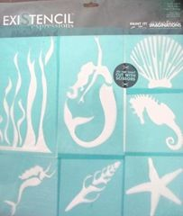 mermaid and beach themed stencils (paint on burlap for party favor bags)