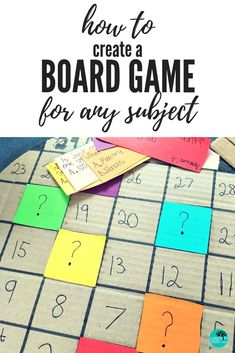 Creating a board game has never been easier for the teacher! With assessment rubrics included, teachers will find that this resource has everything you need for student AND teacher success. Design and create your own board game for any subject and any topic! #pbl #boardgame #project #elementary This structured guide will assist students to keep on task and stay accountable for their own learning while keeping on top of time management and consolidating their knowledge on the chosen topic. Board Games For Two, Math Board Games, Math Boards, Diy Board Game, Kids Board, Math Games, Board Game Design, Create A Board, Diy Games