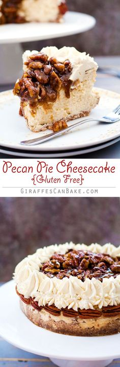 Gluten Free Pecan Pie Cheesecake - This Gluten Free Pecan Pie Cheesecake is the perfect way to shake up Thanksgiving dessert! It's has a gluten free pecan and walnut crust with creamy baked vanilla cheesecake, a bourbon pecan pie topping and bourbon brown Gluten Free Pecan Pie, Gluten Free Baking, Gluten Free Desserts, Just Desserts, Delicious Desserts, No Bake Vanilla Cheesecake, Pecan Pie Cheesecake, Cheesecake Recipes, Dessert Recipes