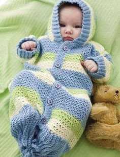 Crochet hooded baby gown