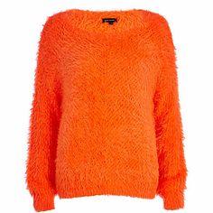 Orange eyelash knit jumper #riverisland
