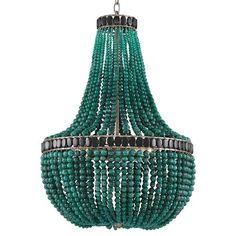 Global Bazaar Emerald Green Beaded Chandelier | Kathy Kuo Home