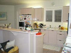 BEFORE:LIMOGE projet - Dated, ugly #kitchen needed an over haul. The transformation is coming! Designed by @sieguzi