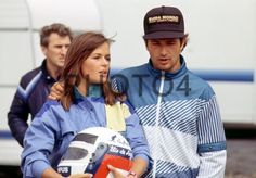 Elio de Angelis (ITA) Team Lotus and girlfriend Ute F1 Drivers, Grand Prix, Girlfriends, Lotus, Pilot, Rain Jacket, Windbreaker, Racing, Heart
