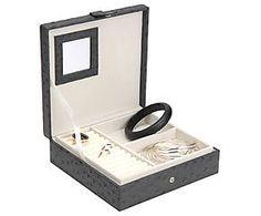 Boîte à bijoux similicuir, anthracite - L20