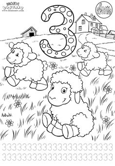 Number 3 - Preschool printables - worksheets coloring pages for kids (Learning numbers, counting 1-10) - Broj 3 - Bojanke za djecu - brojevi, radni listovi BonTon TV #numbers #preschool #brojevi #coloringpages #worksheets #printables